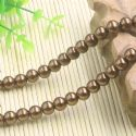 Beads, Glass Imitation pearls, Glass, Brown , Round shape, Diameter 8mm, 18 Beads, [FZZ0039]